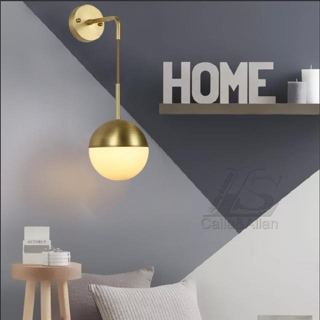 US $118.0 |Nordic minimalistische Moderne Globus Glas Wandleuchte messing  Wandleuchte Leuchte schlafzimmer flur wohnzimmer innendekoration in Nordic  ...