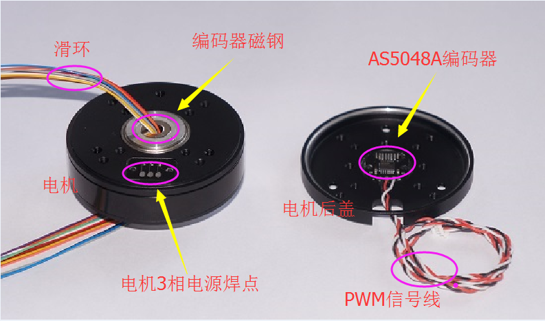 PM5208 Brushless Motor Cloud Platform Code Disc Motor with AS5048A Encoder Center Hole Magnetic Loop