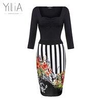 Yilia 2017 Patchwork Vintage Dress Women Black Yellow Red Pink Blue Stripe Rose Floral Asymmetrical Neck