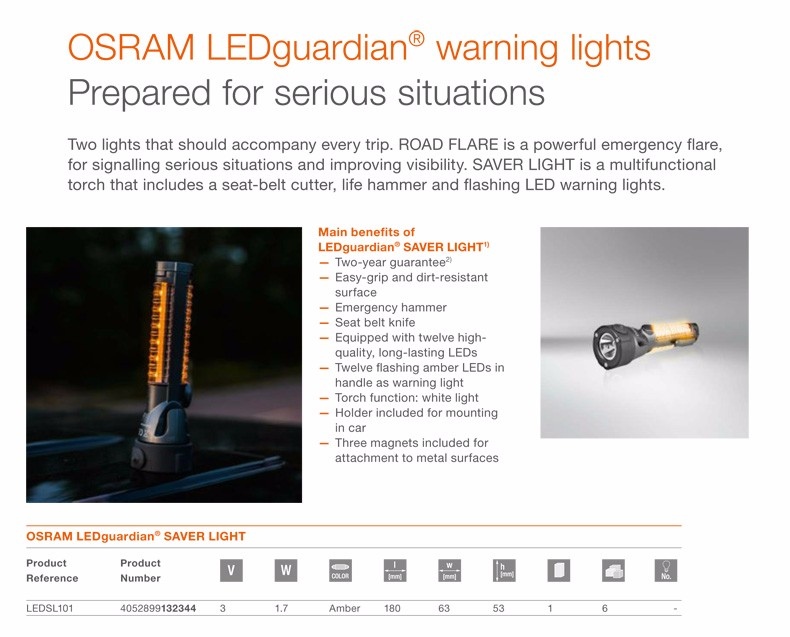 Osram LEDguardian Saver Torch Warning Light Seat Belt Cutter /& Emergency Hammer
