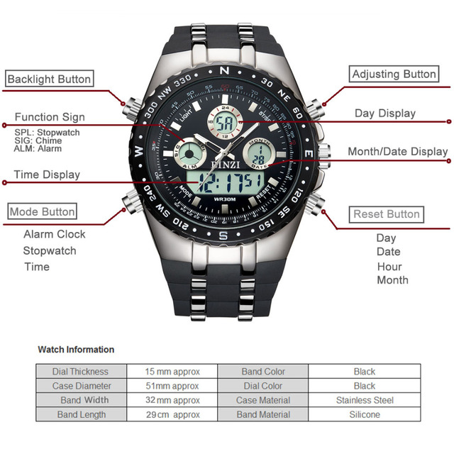 BINZI Mens Watches Top Brand Luxury Digital Male Sport Watch Waterproof Men dual display Wrist Watches Clock Relogio Masculino