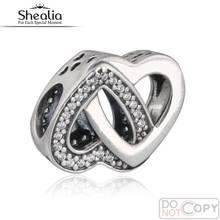 925-Sterling-Silver Clear CZ entrelazados encantos del corazón del amor 2016 día de la madre regalos enclavamiento Hearts Bead para la joyería que hace DIY