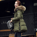 New 2016 winter warm down Cotton jacket Women Real fur collar Thick Slim hooded Long down Cotton Padded jacket Coat Big Pocket