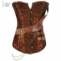 Brown Gothic Vintage Corset Bustier Burlesque Lace up Boned zipper Carnival Cosplay Costume Showgirl Top Shirt  Steampunk Fajas