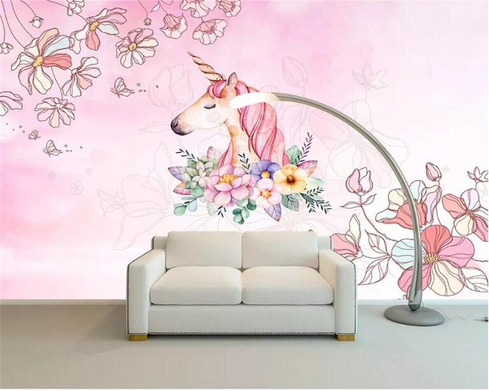 Beibehang Watercolor Unicorn Floral 3d Wallpaper Living