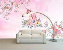 Купить с кэшбэком Beibehang Watercolor unicorn floral 3D wallpaper Living Room Bedroom TV Background mural wallpaper for walls 3 d papel parede