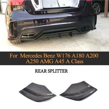 Car Rear Bumper Splitter Canto Lado Lábio De Fibra De Carbono para Mercedes Benz A Class W176 A180 A200 A250 A45 AMG