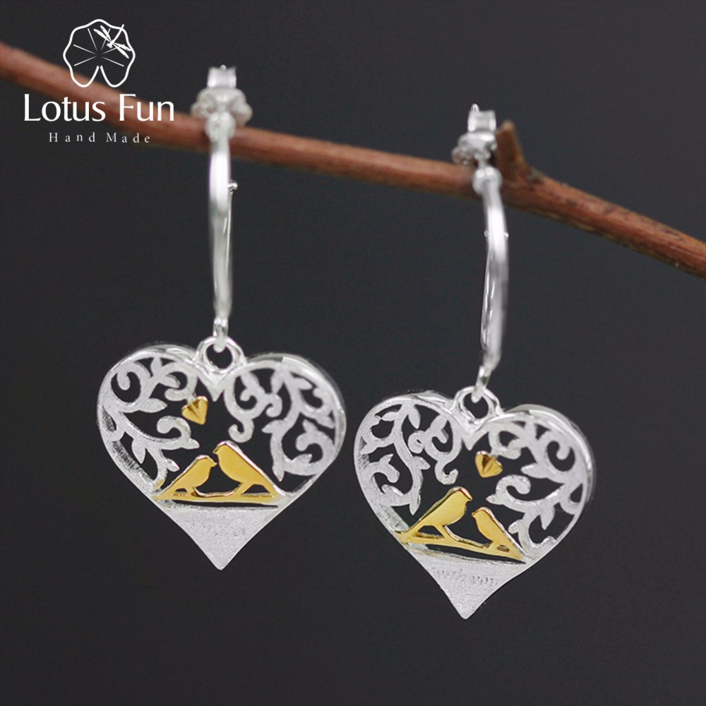Lotus Fun Real 925 Sterling Silver Handmade Fine Jewelry Romantic Bird in Love Heart Shape Drop Earrings without Chain for Women long chain enamel bird shape drop earrings