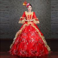 Red Square Neck Printing Pattern Lace Ruffles Medieval Renaissance Victorian Period Evening Banquet Tailing Party dress With Hat