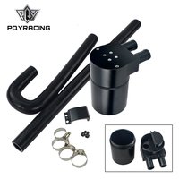 PQY Black Aluminum Alloy Reservior Oil Catch Can Tank with radiator hose for BMW N54 335i 135i E90 E92 E82 2006 2010 PQY TK56