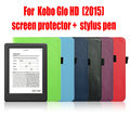 Kobo Glo HD ereader Protective Case  Leather Cover Case funda for Kobo Glo HD (2015) with Auto Wake Sleep+film+stylus pen
