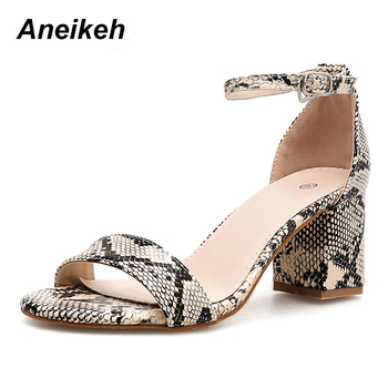 Aneikeh 2019 Leopard Print Women Sandals High Heels Summer Ankle Strap Square Heel Fashion Sandals Pumps Dropshipping Size 35-40 1