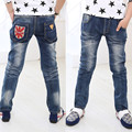 Korean Style Fashion Light Wash Blue Jeans Spring Autumn Full Length Light Wash Denim Pants 10 12 years boys calca jeans menino