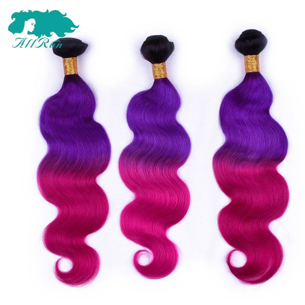 ALLRUN Peruvian Body Wave 100% Human Hair bundles Three Tone color Ombre TB/Purple/Burg  ...