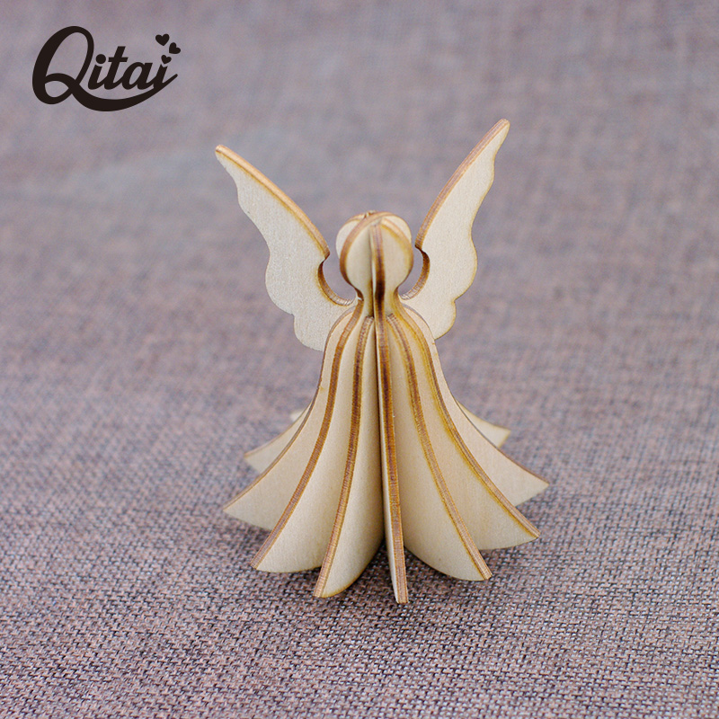 Original QITAI 2017 Fashion Wooden Veneer Shape Vintage Wood Wing Embellishment home decoration accessories DIY Gift WF209