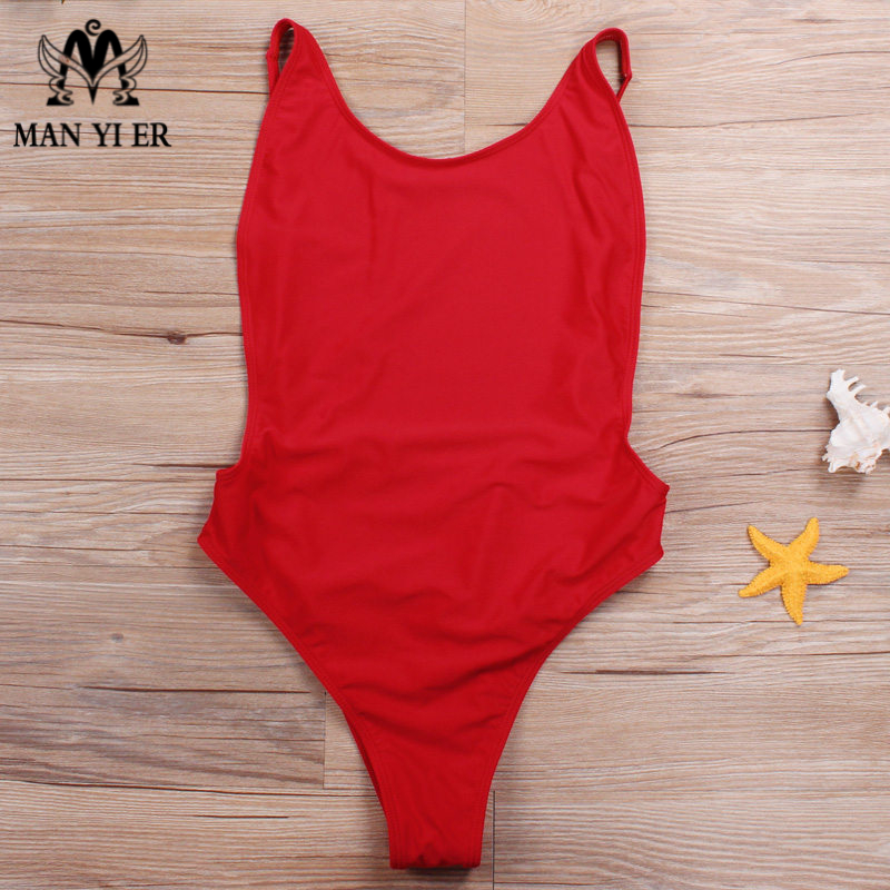 MANYIER Sexy One Piece Swimwear Women Backless Monokini Thong Bodysuit Female Bathing Suit Solid Costume Beachwear No Pads