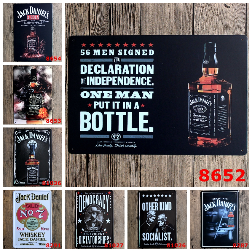 fashion 20*30cm great wine jack daniel's whiskey Tin Sign outdoor Wall Art decoration Bar Metal Paintings