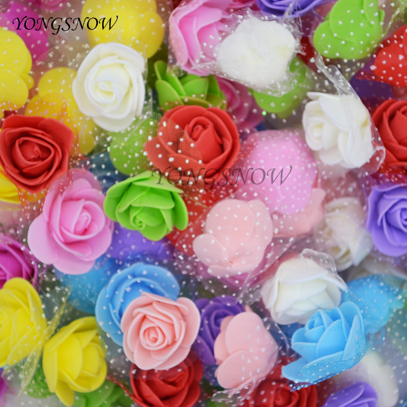 50Pcs/lot 3cm Multicolor Artificial Silk Flower Heads PE Foam Rose For Wedding Decoration Home Garden DIY Wreaths Supplies