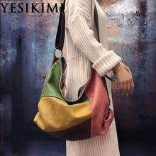 Новинка, винтажная женская сумка-хобо из натуральной кожи, полумесяц, разные цвета, большие сумки на плечо, 45*38 см