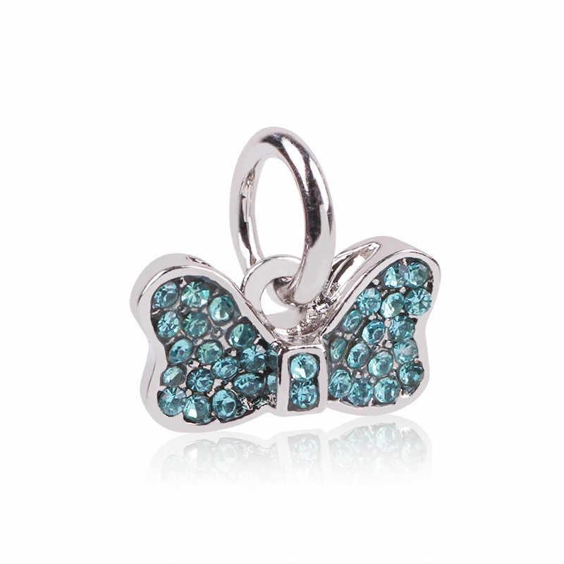 Couqcy srebrne kolorowe koraliki gwiazda i księżyc wisiorek z niebieskim niebem pasuje oryginalny Pandora Charm bransoletki DIY biżuteria kobiety hurt
