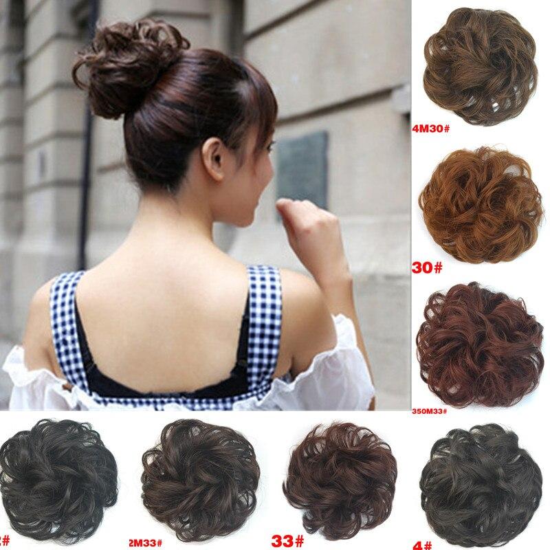 Chignon Ladies Women Scrunchie Curly Hair Girls Elastic Bun Fashion Headwear Bundles Hair LNRRABC Synthetic Hair Extension