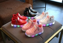 2018 Spring Glowing Girls Sneakers Basket Led Children Lighting Shoes Boys illuminated krasovki Luminous Sneaker Size 21-30(China)