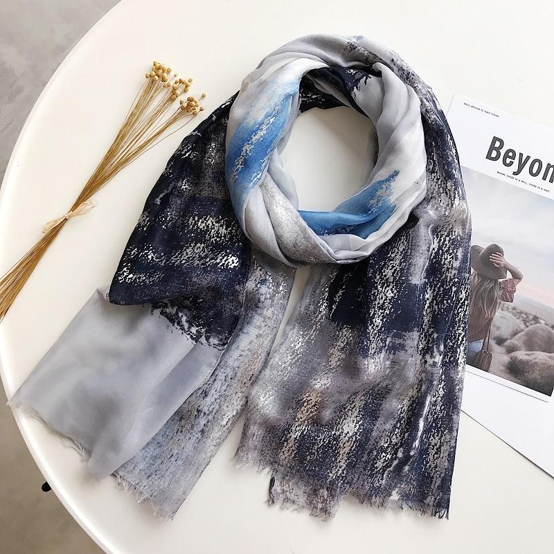 2019 Women Antumn Winter Ink Painting   Scarf   Luxury Brand Plain Glitter Viscose   Scarves     Wrap   Pashmina Shawl Hijab Muslim Headband