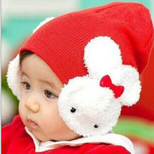 f0f070f2905 Kids Knitted Hats For Girls Cute Crochet 3D Rabbit Beanie Keep Warm Winter  Hat Girl Chidren Baby Girl Cap Bonnet Bebe