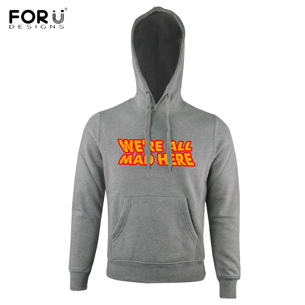 FORUDESIGNS Punk Women/Men Winter Autumn Hoodies We Are All Mad Here Letters Print Hooded Sweatshirts Loose Streetwear Outerwear