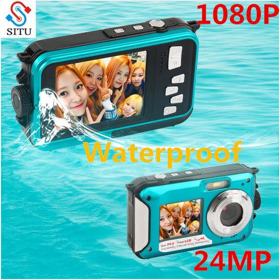 Camcorder Digital-Camera Zoom Double-Screen Waterproof 24MP 1080P MAX TFT 16x HD268 title=