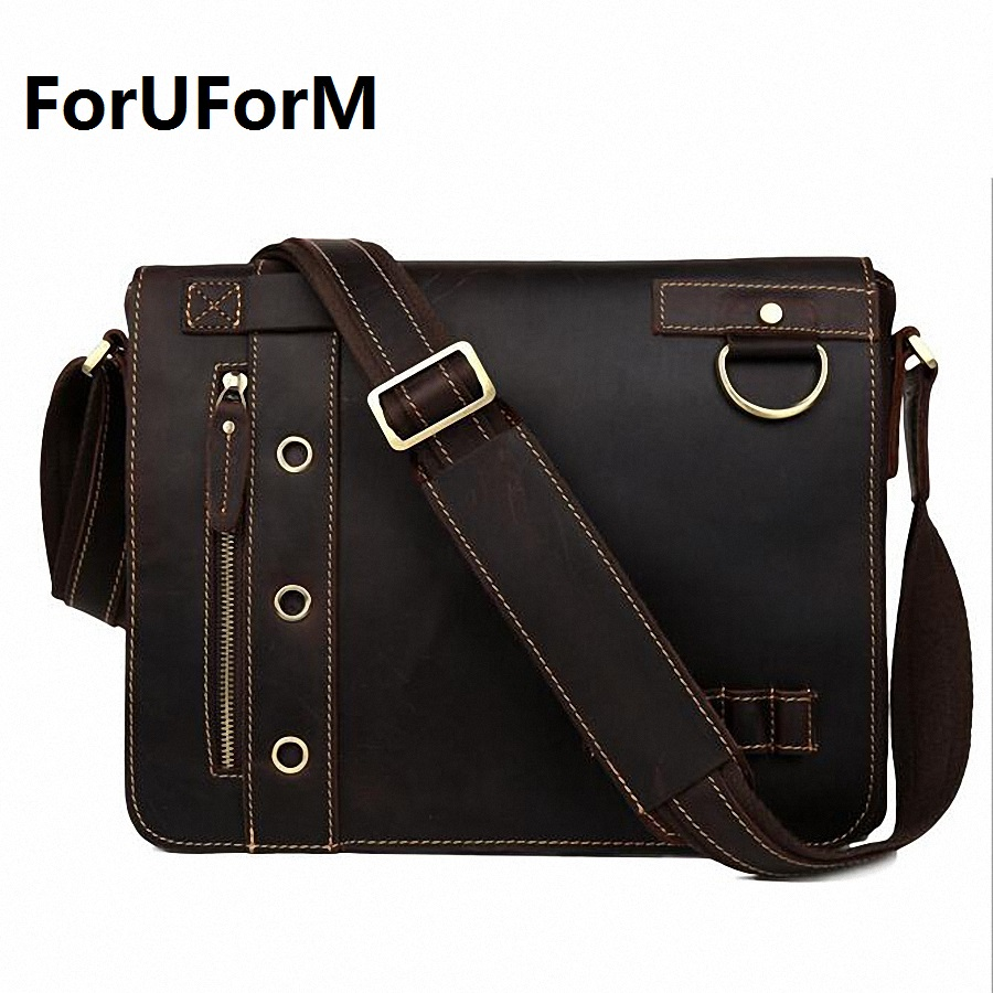 ForUForM Vintage Crazy Horse Genuine Leather Men's Messenger Bag Man business Shoulder Bag 13 inch laptop school Bag LI-1826