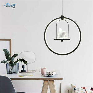 Image 4 - Nordic Aluminum Ring Girl Swing Pendant Light for Living Room Bedroom Study lovely Bird hanging lamp art deco kids Light Fixture