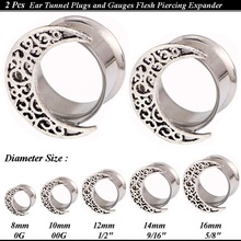 1Pair Hollow Moon Ear Tunnels Plugs Stainless Steel Gauges Body Piercing Jewelry Ear Expander Reamer Stretcher Size 8mm-16mm