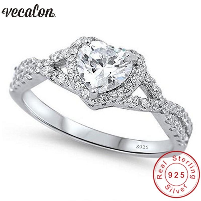 Vecalon Herzform 100% Soild 925 Sterling Silber ring 0.5ct Sona 5A Zirkon Cz Verlobung hochzeit Band ringe für frauen männer Geschenk
