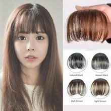 Nueva moda Natural luz completa de Bang Clip In On Real del pelo de Remy extensiones Bangs Fringe cuatro Color de pelo sintético para mujeres