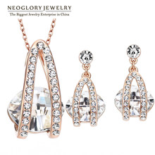 Neoglory 4 warna kualitas baik mode austria kristal set perhiasan berlian imitasi wedding bridal 2017 new charm merek(China)