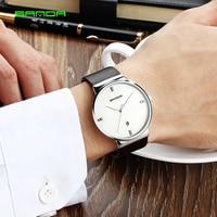 SANDA Top Brand Luxury Leather Casual Quartz Watch Men Army Military Sport Quartz Watch