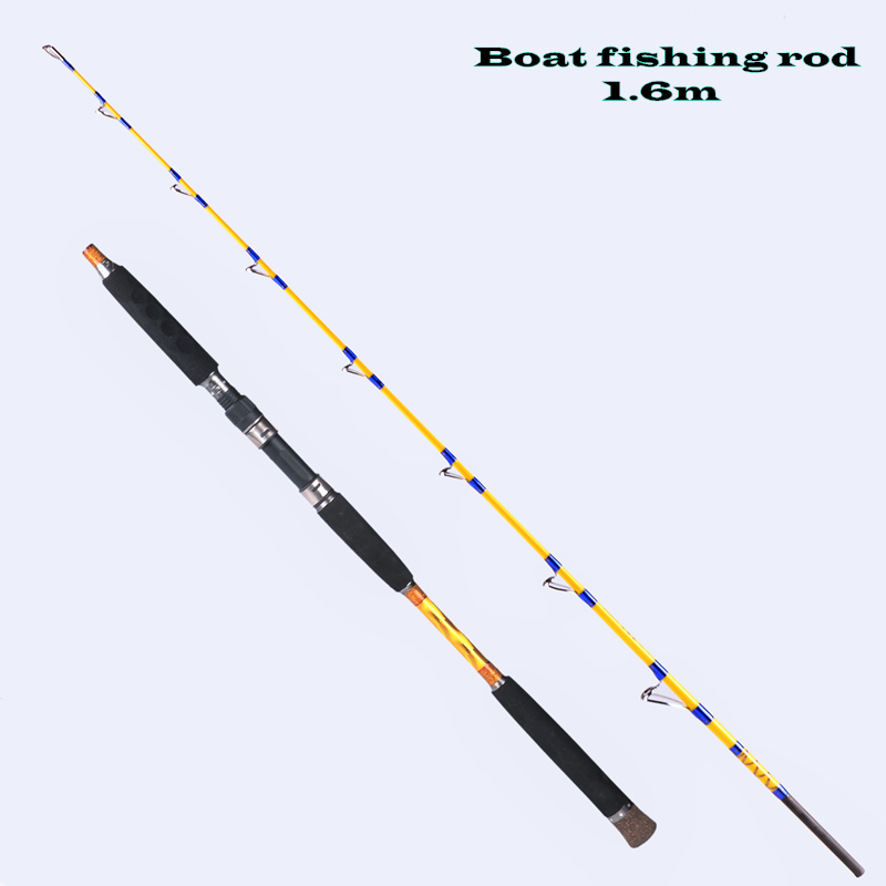 Gigh quality fishing rod 1.6-1.7 meters 2 section lure wt 150-300g boat rod high carbon superhard jigging rod fishing tackle 1 65m 1 8m high carbon jigging rod 150 250g boat trolling fishing rod big game rods full metal reel seat sic guides eva handle