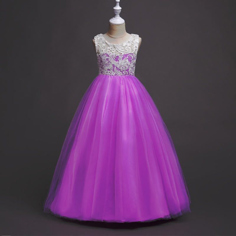 New Princess Dress Lace Sleeveless Gauze Dragging Dress Girl Perform Host Dresses