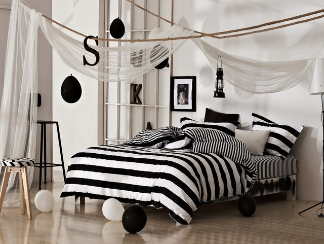 Black And White Classical Stripe Bedding Set New Arrival Cotton