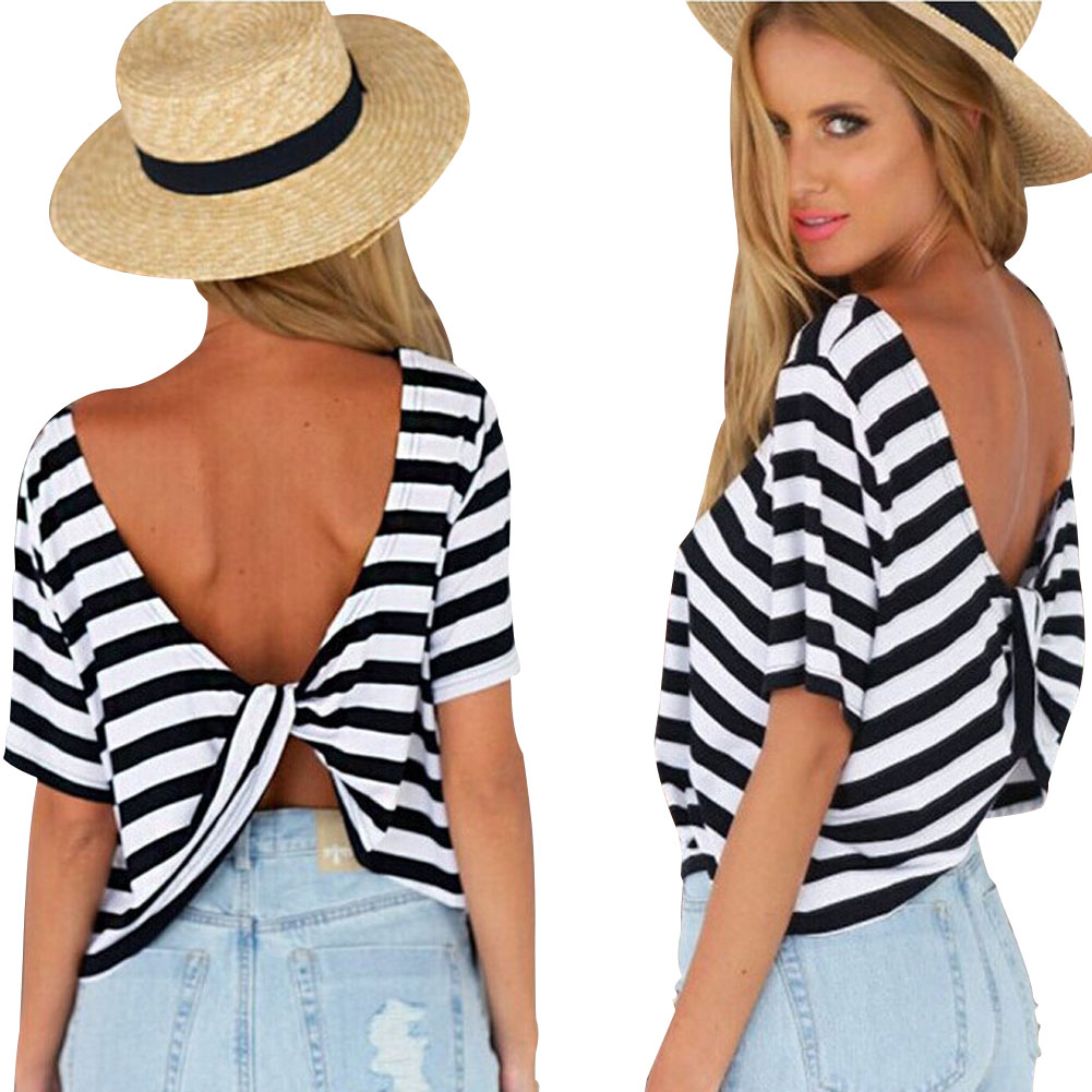 Summer   New Fashion Women's European Style Sexy Back Cross Backless Short Sleeve Striped T-shirt  FS99