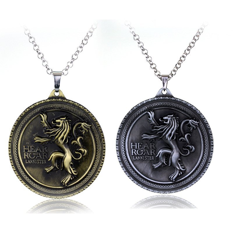 Fashion Jewelry A Song of Ice and Fire Game of Thrones Necklace Colar Collares House of Lannister Crests Lion Pendant Necklace