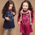 Meninas do bebê vestuário de moda 2016 Nova Coruja inverno de manga comprida vestido de crianças vestido da menina crianças roupas de qualidade para 2-7 anos