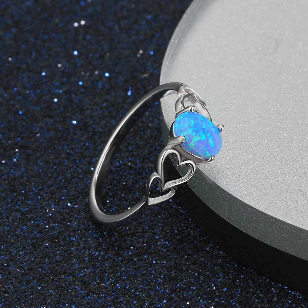 Women 925 Sterling Silver Rings with Oval Blue Fire Opal Stone Hollow Out Heart Wedding Jewelry Female Finger Ring(Lam Hub Fong)