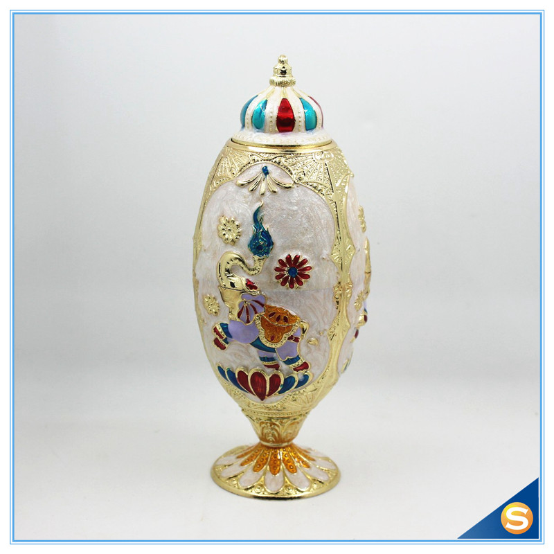 Thai Wedding Gifts: Thailand Elephant Desgin Enamel Egg Shape Toothpick Holder
