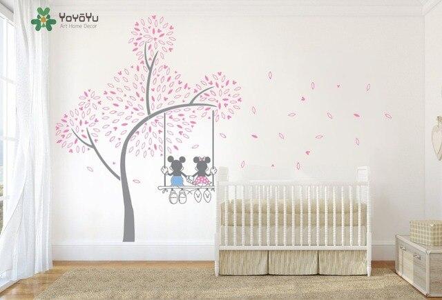 YOYOYU Art Nursery Tree Sticker Mickey And Minnie Swing Love Tree Wall  Decal Kids Children Bedroom