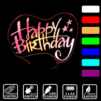 3D Happy Birthday LED Night Light Remote Control Or Touch Switch 7 Color Changing Bedside Lamp
