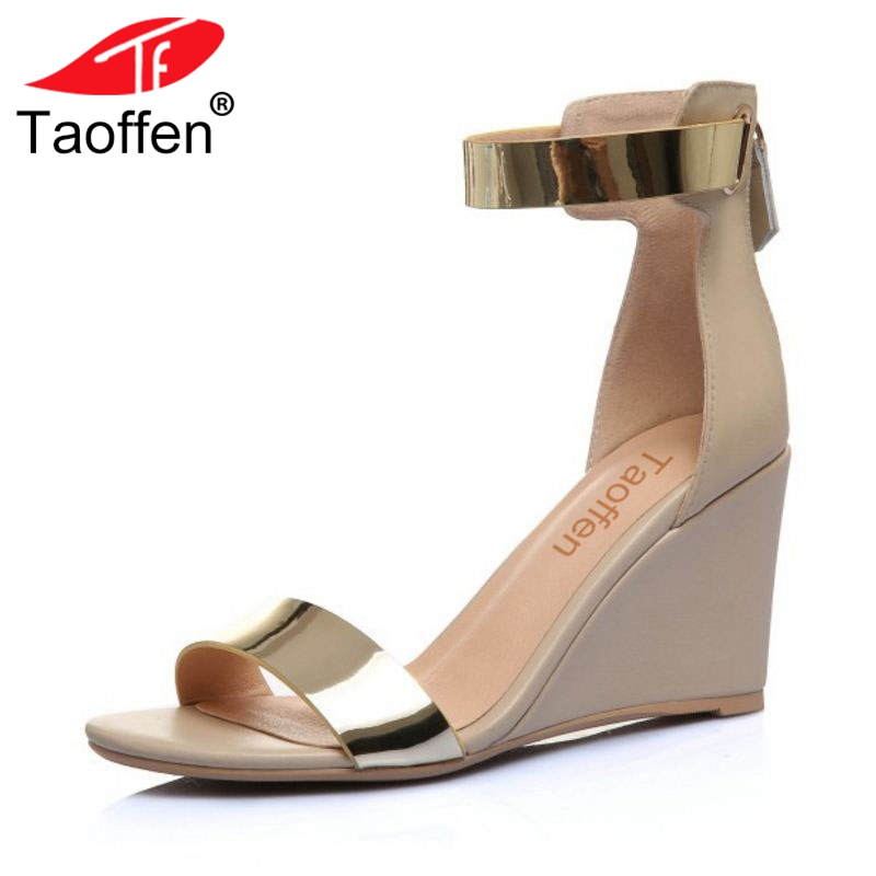 TAOFFEN Women High Heel Shoes Ankle Strap Sandals Mixed Color Real Leather Women Sandals Sexy For Club Footwear Size 33-40 taoffen women high heel sandals buckle open toe mixed color genuine leather ladies shoes sexy sandals party footwear size 33 40