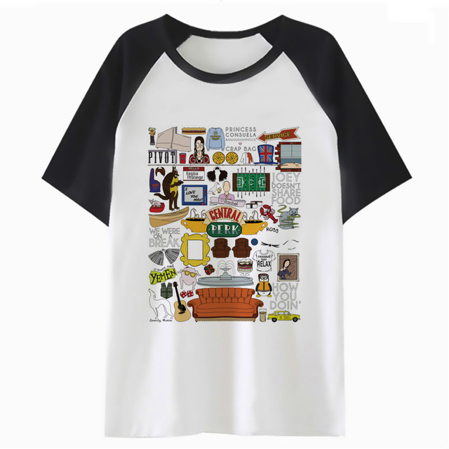 119a0028c5cc9 US $8.4 40% OFF|Friends tv show collage t shirt femme female graphic tee  women tops harajuku t shirt kawaii clothing cartoon tshirt K4326-in  T-Shirts ...