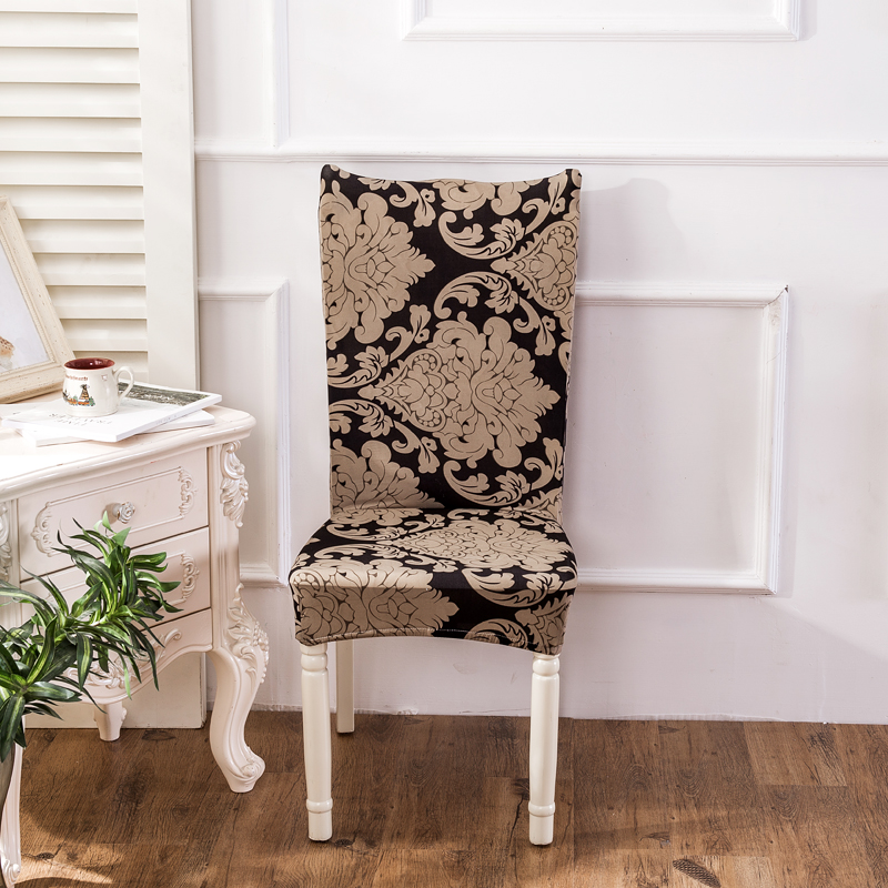 1pc Vintage Baroque Style Printing Spandex Elastic Dining Chair Protector Covers Home Ki ...